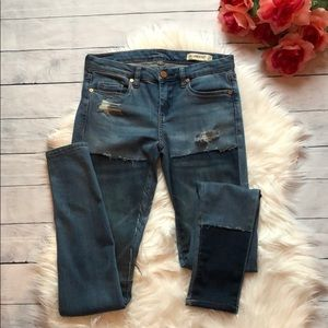 Blank NYC Distressed Patchwork Skinny Jeans